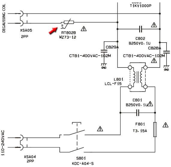 Схема включения петли размагничивания с двухвыводным позистором