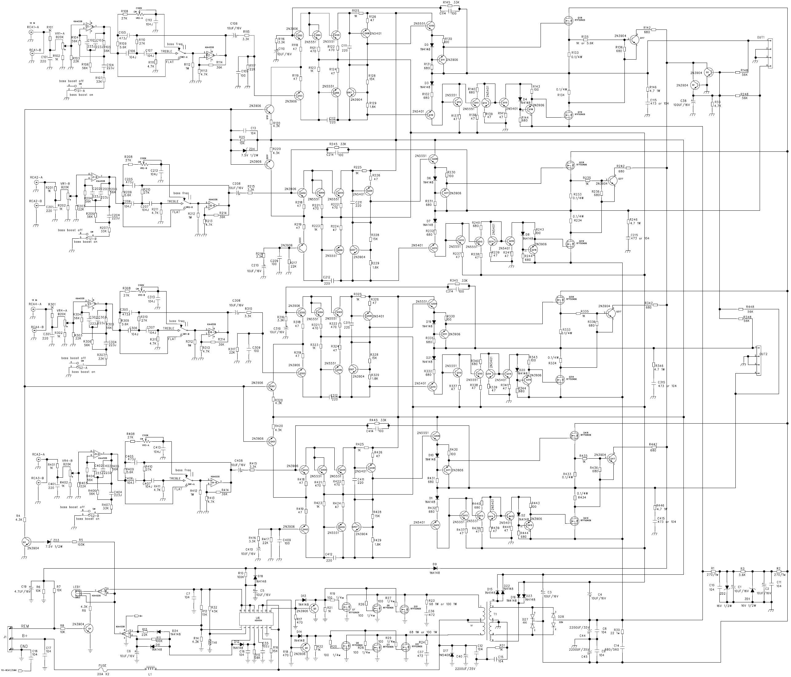 схема усилителя для автомагнитолы на основе m51164al