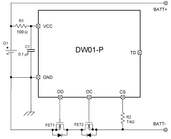 Типовая схема включения микросхемы DW01-P