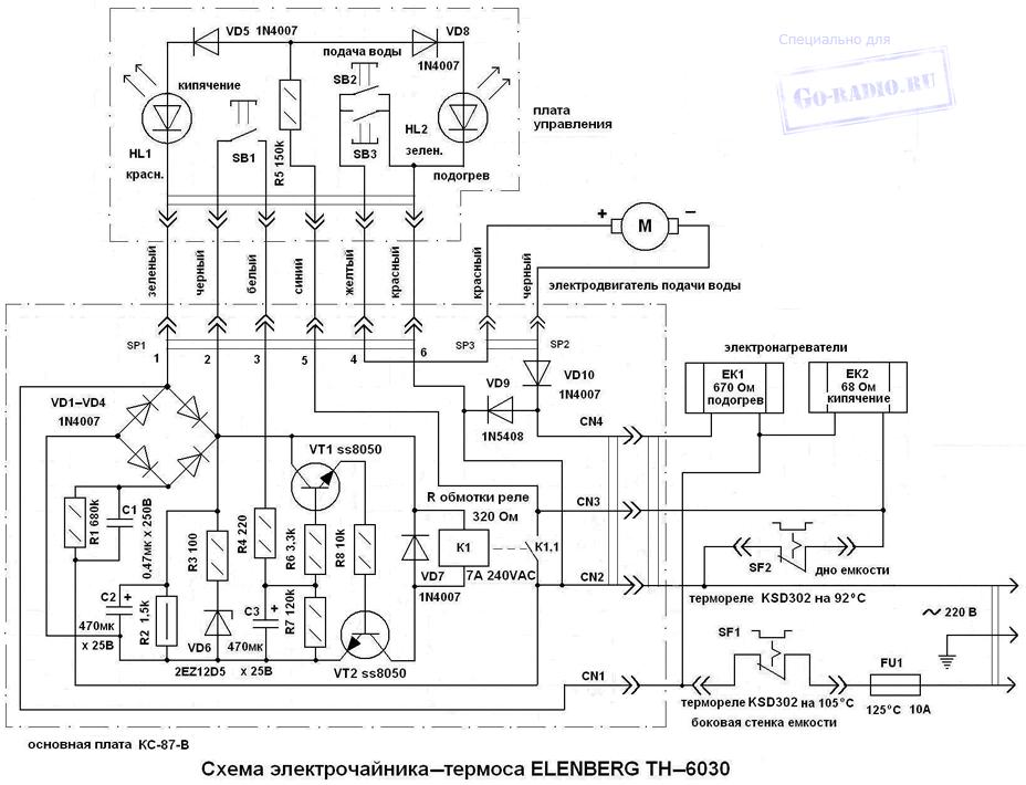 Схема чайника-термоса ELENBERG TH-6030