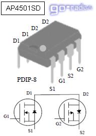 Сборка полевых транзисторов AP4501SD