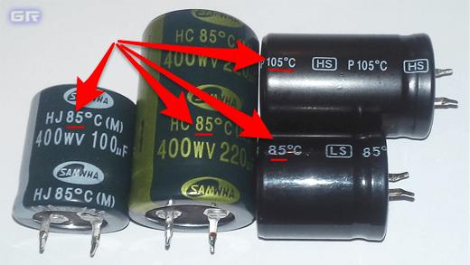 Маркировка максимальной рабочей температуры конденсатора