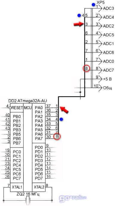 Пример обозначения групповой линии связи
