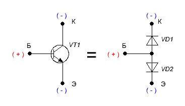 Условное изображение транзистора N-P-N из диодов