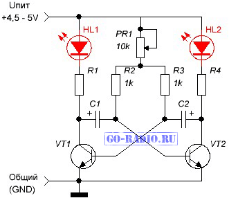 Схема мультивибратора с регулировкой частоты на транзисторах фото 942