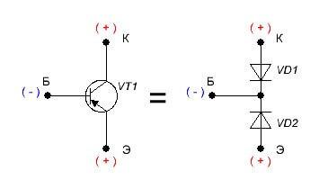 Условное изображение транзистора P-N-P из диодов