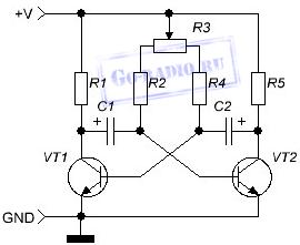 Схема мультивибратора с регулировкой частоты на транзисторах