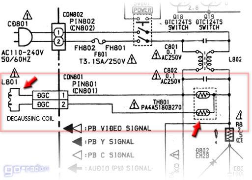 Схема включения петли размагничивания с трёхвыводным позистором