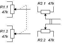 Обозначение сдвоенных переменных резисторов