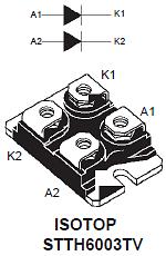 Диод STTH6003TV в корпусе ISOTOP