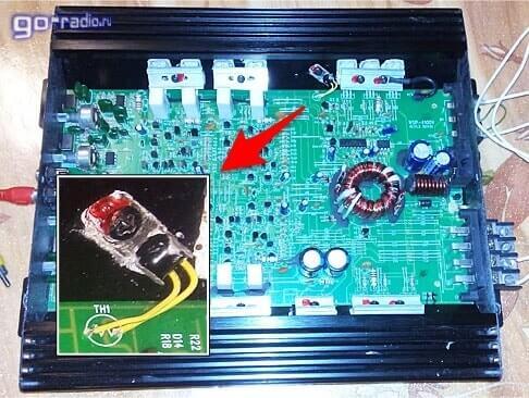 Терморезистор на радиаторе автоусилителя Supra SBD-A4240