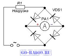 Упрощённая схема стрелочного амперметра переменного тока