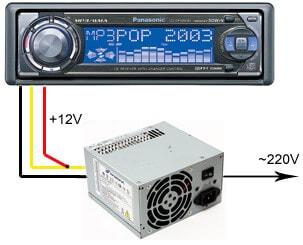 Схема подключения автомобильного CD/MP3-ресивера к компьютерному блоку питания