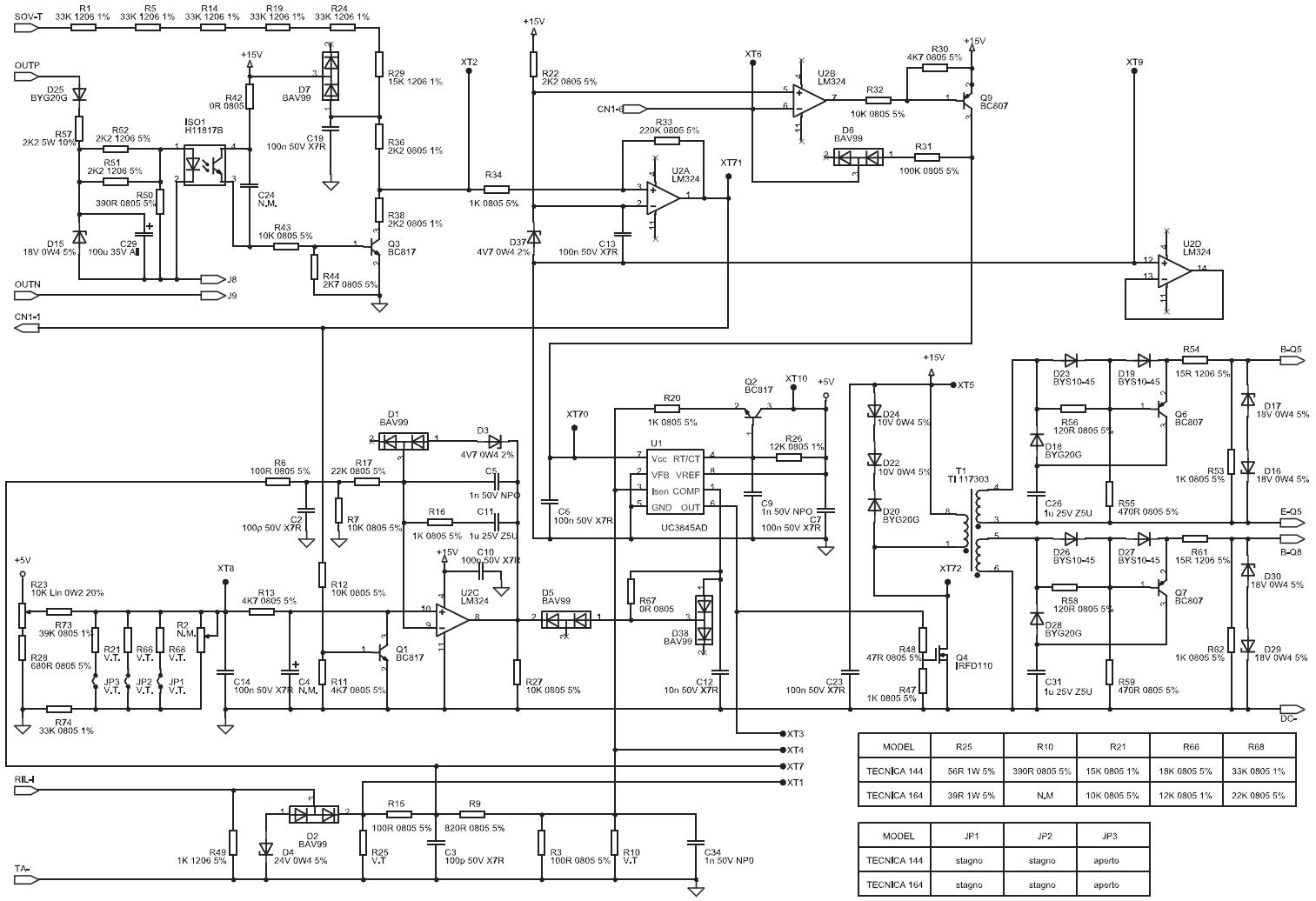 Схема управления и драйвера Telwin Tecnica 144-164