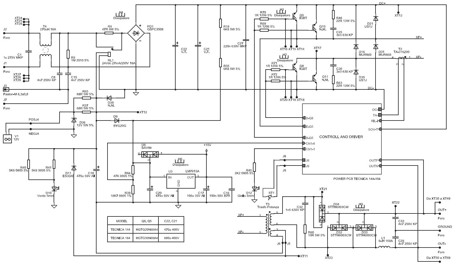 Схема силовой части сварочного аппарата Telwin Tecnica 144-164