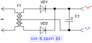 Типовая схема двухполупериодного выпрямителя со средней точкой