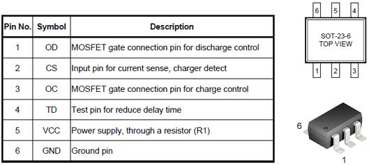 Цоколёвка, внешний вид и назначение выводов DW01-P
