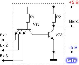 Внутреннее устройство элемента 3И-НЕ