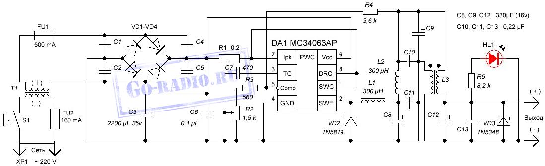 Схема преобразователя питания DC/DC 12 - 5, в Поделки для авто