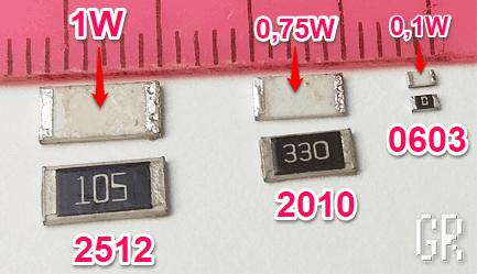 Определение мощности SMD-резистора по его размеру