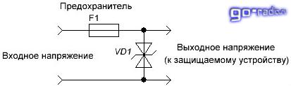 Схема включения двунаправленного защитного диода