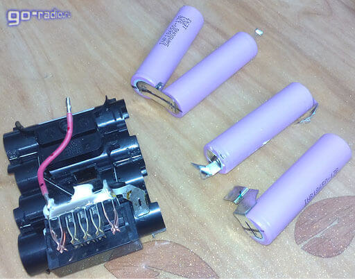 Разобранный аккумулятор DeWalt DCB-145