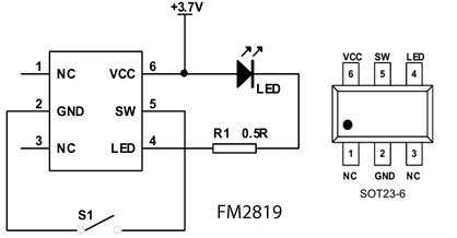 Типовая схема включения и цоколёвка микросхемы FM2819