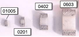 Сравнение габаритов микроминиатюрных SMD-резисторов 01005, 0201, 0402, 0603