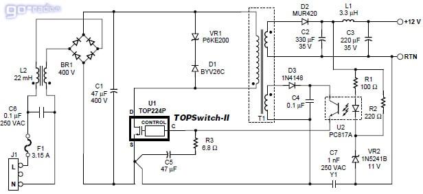 Типовая схема включения микросхемы TOP225YN