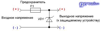 Схема включения однонаправленного супрессора