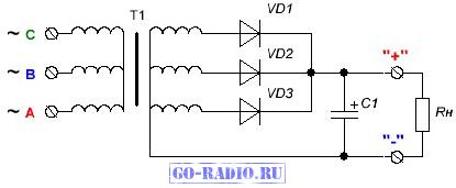 Типовая схема простейшего трёхфазного выпрямителя