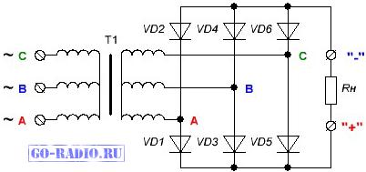 Схема трёхфазного выпрямителя