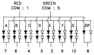 Двухцветный семисегментный индикатор