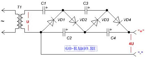 Типовая схема умножителя напряжения