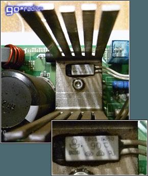 Термопредохранитель на радиаторе диодной сборки