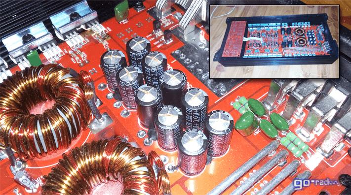 Вздувшиеся конденсаторы на плате автомобильного усилителя