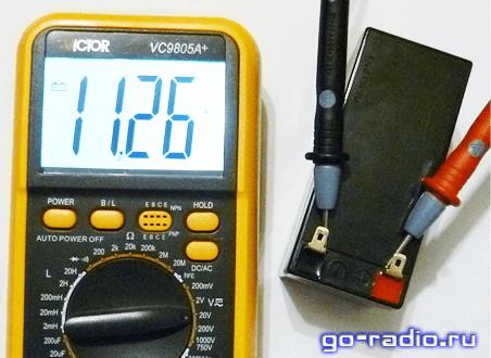 Измерение напряжения на аккумуляторной батарее 12V