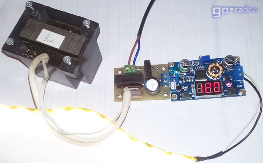 Подключаем к блоку питания на модуле XL4015 светодиодную ленту